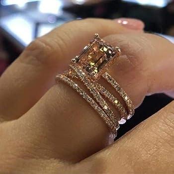 Tripmark Sparkling Women Fashion 925 Silver Natural Morganite Ring Wedding Jewelry Rings  6