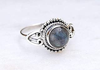 925 Sterling Silver Grey Blue Fire Labradorite Ring Size US 7 - Labradorite Stone Gemstone Statement Ring Gift Jewellery For Girl Women