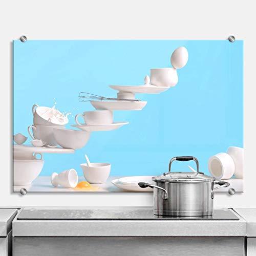 Spatscherm Keuken - Belenko One Touch Omelette - Hittebestendig Glazen Spatwand inclusief Luxe Wandklemmen - 60x40 cm (bxh)