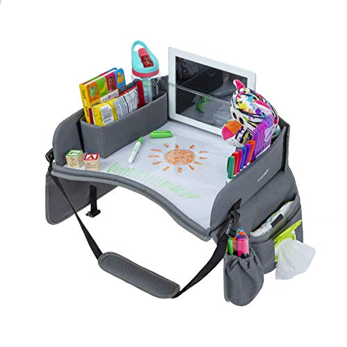 Premium Kids Travel Tray, Waterproof Surface, Dry Erase Board, Car Seat Lap Tray Front and Rear Facing, Snack, Play Tray (Standard, Gray), 16.50 x 13.50 Inches