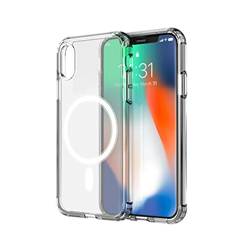 amCase Clear Case with Built-in Magnets Compatible with Mag-Safe, iPhone X/Xs (5.8'), Support Wireless Charging and Magnetic Stand, Strong Magnetic, Shockproof Protective