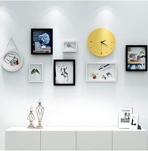 XZhstes Lienzo de Pared Pintura Decorativa Salón Salón Sofá Fondo Pintura Mural Simple Nórdico Moderno Pintura De Pared Combinación Libre 8pcs Reloj De Pared Marco De Fotos Creativo