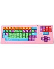 لوحة مفاتيح يو اس بي شديدة التحمل للأطفال، جسم وردي ومفاتيح متعددة الألوان