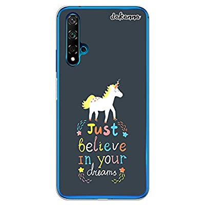 Dakanna Funda compatible con [Huawei Nova 5T / Honor 20] de Silicona Flexible, Dibujo Diseño [Unicornio con frase Just belive], Color [Borde Transparente] Carcasa Case Cover de Gel TPU para smartphone