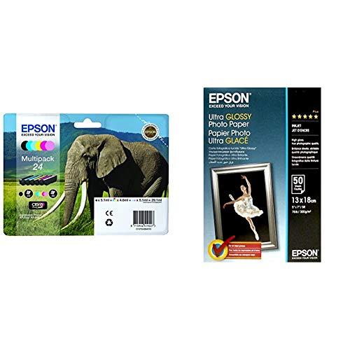 Epson C13T24284010 - Pack de 6 cartuchos de tinta, color, paquete estándar válido para Expression Photo + C13S041944 - Papel fotográfico, 13 x 18 cm, 50 unidades, color blanco