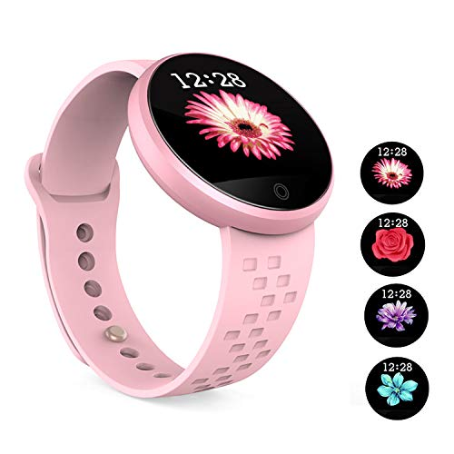 KAUO Smart Watch Damen Bluetooth Fitness-Tracker B16 Intelligente Uhr Herzfrequenz-Überwachung Schlafüberwachung Informationen erhalten IP67 wasserdicht Kompatibel mit Android und IOS (Rot)