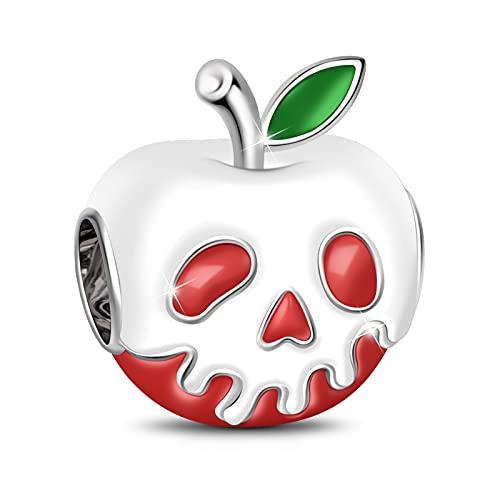 GNOCE Roter Apfel mit hellgrüner Charm Anhänger 925 Sterling SilberWeihnachten Halloween Geschenk Bead Charms Schmuck für alle Armbänder Halsketten