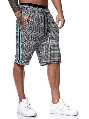 OneRedox Herren Jogging Hose Jogger Streetwear Sporthose Fitness Clubwear Modell 1469 Grau Türkis XL