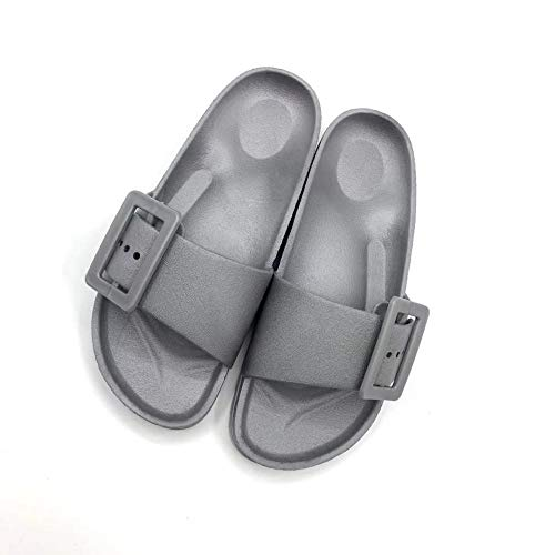 TDYSDYN Zapatos de Playa y Piscina,Zapatillas de casa Antideslizantes, Elegantes Chanclas para el baño.-Gris Oscuro_36