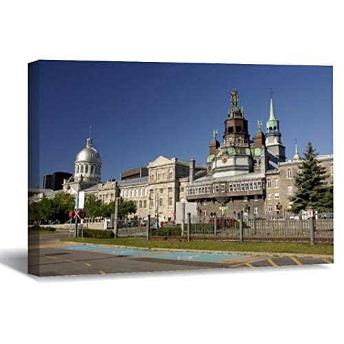 Canada, Quebec, Montreal. Old Montreal Canvas Picture Painting Artwork Wall Art Poto Framed Canvas Prints for Bedroom Living Room Home Decoration, Ready to Hanging 8'x12'