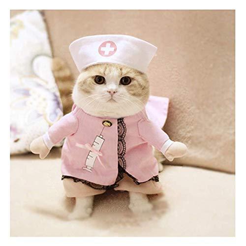 Leilei Traje de Enfermera del Gato del Perro worderful Mascotas Enfermera de Halloween Ropa Jeans Cat Traje Ropa para Chrismas de Halloween,M