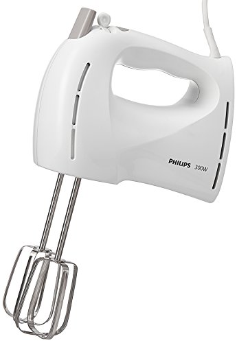 Philips HR1459/01 New Daily - Batidora de varillas (300 W, función turbo, 5 velocidades, se incluyen varillas para batir y amasar), color blanco