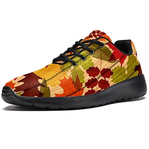 TIZORAX Scarpe da corsa per gli uomini autunno autunno foglie su tavola di legno moda scarpe da ginnastica mesh traspirante camminata trekking tennis scarpe, Multicolore (Multicolore), 46 EU