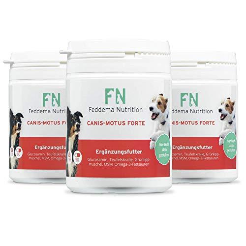 Feddema Canis-Motus Forte I 3 x 90 Tablettes Articulations Complément alimentaire pour chiens I Complément alimentaire pour les articulations des chiens avec griffe du , glucosamine MSM oméga-3 acides gras et moule aux orles verts