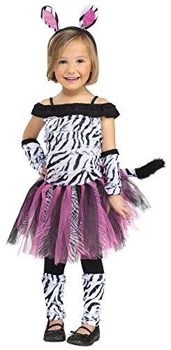 shoperama Disfraz para nia de cebra Fuzzy, tut, talla 104 - 3 - 4 aos