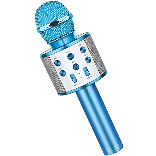 Fun Boys Toys Age 3-12, Wireless Bluetooth Karaoke Microphone for Kids Portable Handheld Mic for Girls Age 5-12 Blue