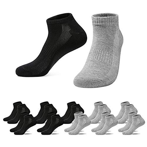 Falechay Herren Damen Sneaker Socken Sportsocken 10Paar Halbsocken, 5*schwarz/5*grau, 39-42