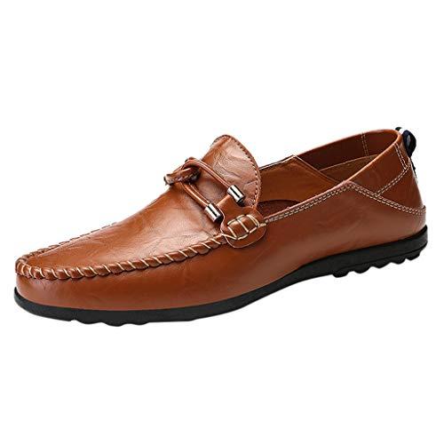 Alwayswin Mokassins Herren Freizeitschuhe Slipper Britischen Stil Lederschuhe Weicher Boden Bequeme Bootsschuhe Faule Schuhe Flache Slip-On Weiche Schuhe Einzelne Schuhe Müßiggänger