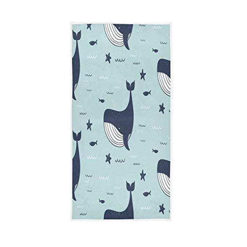 NBHBVGFC Toalla de baño suave con diseño de ballena, delfín, estrella de mar, para hotel, spa, gimnasio, deporte, 76,2 x 38,8 cm