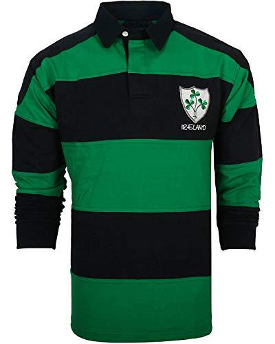 Irish Rugby Shirt for Men, Green and Blue with Shamrock Crest, Irish Fan Shirt, XXL