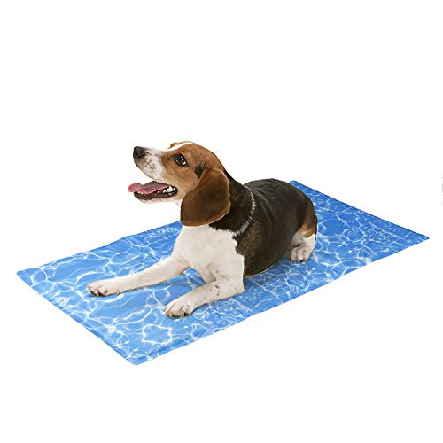 amzdeal Alfombrilla de Refrigeración para Perros - Alfombra Refrescante Resistente para Mascotas, No Tóxico & Plegable, Enfriamiento Automático, Manta Fresca para Cojín de Silla, L (90 x 50 cm)