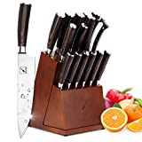 Japanese Knife Set, imarku 16-piece Kitchen Knife Sets with Block Wooden, Manual Sharpening for Chef Knife Set with 6 Serrated Steak Knives, German Stainless Steel