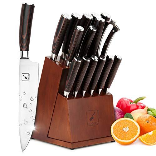 imarku Messerblock Set , 16-teiliges Messerset Deutsches Edelstahlmesser, Abnehmbarer Messer Set mit Block,Holzmesserhalter Ergonomisches Holzgriff Messerblockset Kochmesserset Japanisches Messer set