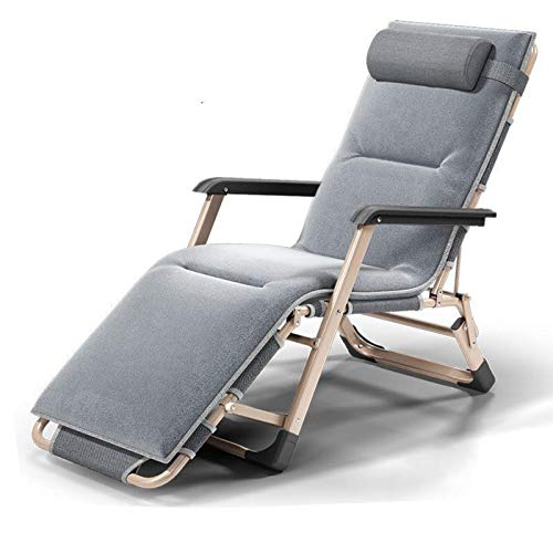 Gqmz Relax Liegestuhl, Mit Kissen + Mat, Klappbar Und Verstellbar Sonnenliege Gartenliege, Geeignet für die Außen, Terrasse, Strand, Pool Usw. Relaxsessel Garten Liege Stuhl Relaxliege,White