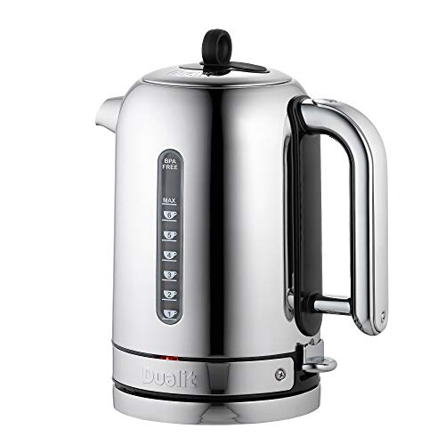 Dualit Classic Kettle   Polished Stainless Steel with Black Trim   Quiet boiling kettle   90 Second Boil Time   1.7 L Capacity, 2.3 kW   72796