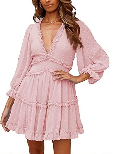 Dokotoo Womens Cute Spring Summer Casual V Neck Chiffon Lantern Long Sleeve Elegant Boho Hawaiian Flowy Mini Short Tunic Skirt Dresses for Women Party 2021 Pink Small