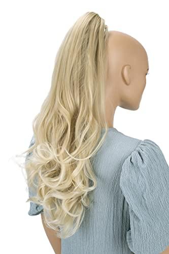 PRETTYSHOP 60cm Haarteil Zopf Pferdeschwanz Haarverlängerung Voluminös Gewellt Hellblond Mix H89