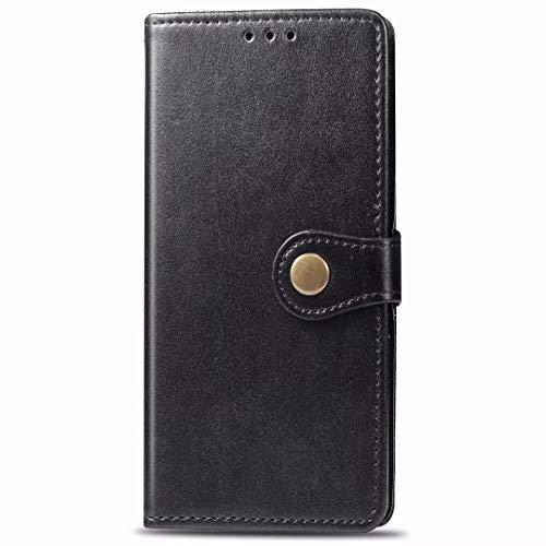 Funda de piel premium para Realme C25s a prueba de golpes estilo libro magnético Flip Folio Stand View Full Protection Cover compatible con Realme C25s Funda de teléfono negro