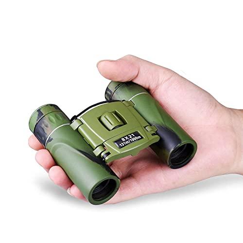 Mini Jumelles 8x21 Jumelles Compactes pour Enfant Adultes, d'extérieur Pliable Télescope pour Observation des Oiseaux, Concerts, Sports, Randonnée, Camping la Chasse