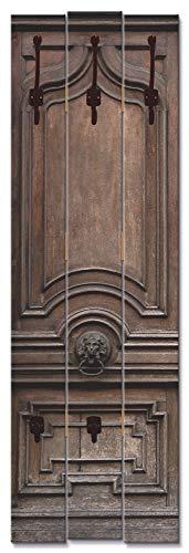 Artland Wandgarderobe Holz Design mit 5 Haken Garderobe mit Motiv 45x140 cm Vintage Klassisch Rustikal Haustür Braun T9OO