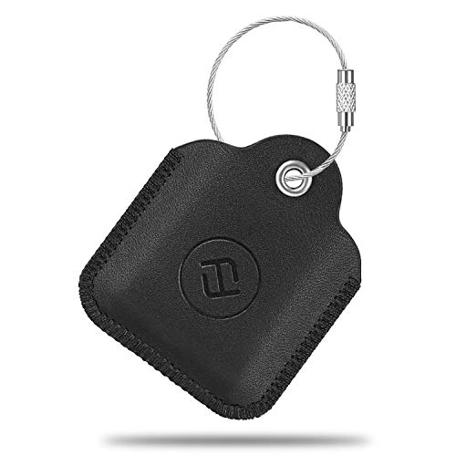 Fintie Genuine Leather Case for Tile Mate/Tile Pro/Tile Sport/Tile Style/Cube Pro Key Finder Phone Finder, Anti-Scratch Protective Skin Cover with Keychain, Black