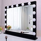 WONSTART - Espejo de maquillaje de Hollywood iluminado, espejo luminoso con 15 LED, espejo de pared o espejo para tocador (70 x 55 cm), color negro