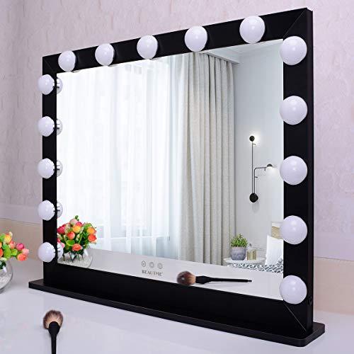 WONSTART Hollywood - Espejo de maquillaje con 15 LED iluminado ajustable al tacto con 3 ajustes de luces, espejo de escritorio o montaje en pared, espejo de belleza (negro)