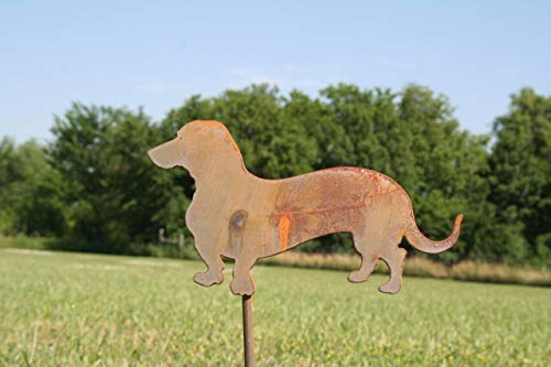 Metal Wiener Dog Garden Stake 21 Inches Tall