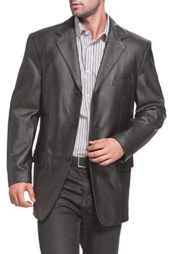 BGSD Men's Liam 3-Button Leather Blazer Lambskin Sport Coat Jacket Black X-Large