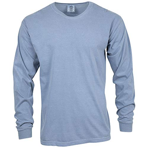 Comfort Colors Men's Adult Long Sleeve Tee, Style 6014, Blue Jean, 3X-Large