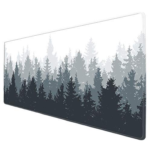 Galdas Gaming Mouse Pad Forest Background Pattern XXL XL Large Mouse Pad Mat Long Extended Mousepad Desk Pad Non-Slip Rubber Mice Pads Stitched Edges Thin Pad (31.5x11.8x0.08 Inch)-Tree Photo #4
