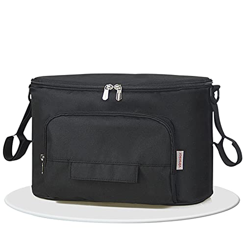 Bolsa multifunción para bebé, bolsa de almacenamiento de cochecito de bebé, bolsa de pañales, colgador de cochecito colgante, impermeable, universal (negro)