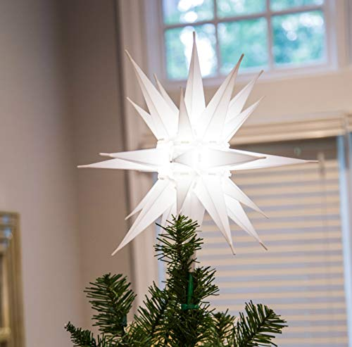 Elf Logic - 12' LED Moravian Star Tree Topper - Bright White 3D Lighted Christmas Star Tree Topper - Use as Advent Star, Bethlehem Star, or as Holiday Light Decoration! (White LED, 12 Inch)
