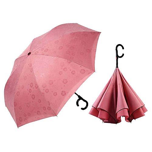 AIWKR Dubbele Laag Opvouwbare paraplu voor reizen, Winddichte paraplu Omkeerparaplu Innovatieve paraplu's met C-handvat Waterafstotend, Anti-permeatie 115cm