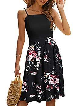 YATHON Summer Dresses for Women Casual Party Swing Dress Spaghetti Strap Sundress for Women with Pockets  YT111-P-Black Floral 02 XL