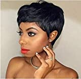 BLISSHAIR Pixie Cut Wigs Short Human Hair Wigs for Women African American Short Straight Pixie Wigs with Bangs
