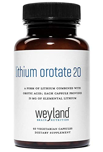 Weyland Brain Nutrition: Lithium Orotate 20mg (1 Bottle), 60 Vegetarian Capsules, Lithium Supplement Supports Healthy Mood, Behavior, Memory and Wellness