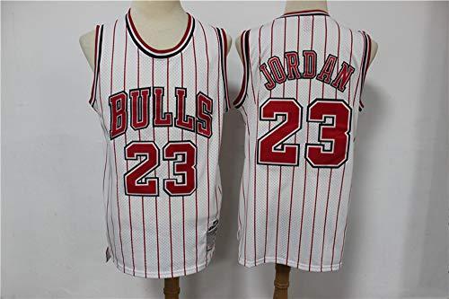 LYY Jerseys Men's, NBA Chicago Bulls # 23 Michael Jordan - Classic Baloncesto Sportswear Flojo Comfort Chalecos Tops Camisetas Sin Mangas Uniformes,Blanco,XL(180~185CM)