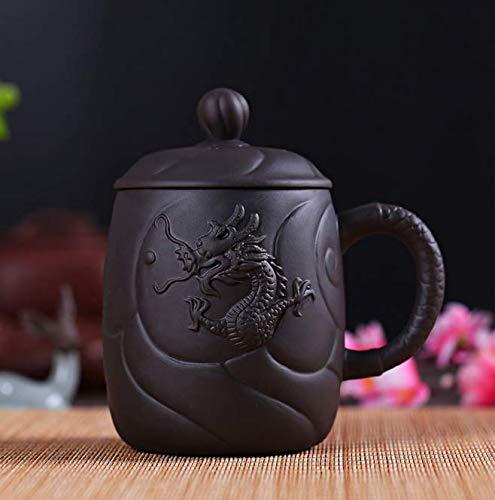 Qnmbdgm theekop van kleipaars van Draak antiek Chinees met deksel theezeef handwerk Yixing Zisha 440ml theekopje