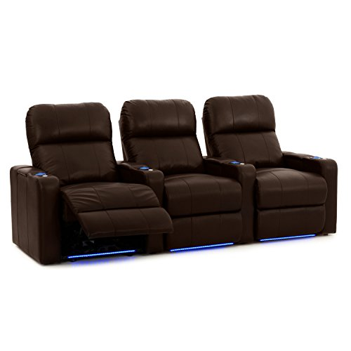 Octane Turbo XL700 Row of 3 Seats, Straight Row in Brown Leather with Power Recline